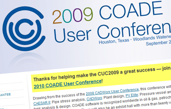 2009 COADE User Conference Web Site Screenshot