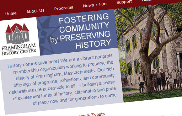 Framingham History Web Site Screenshot