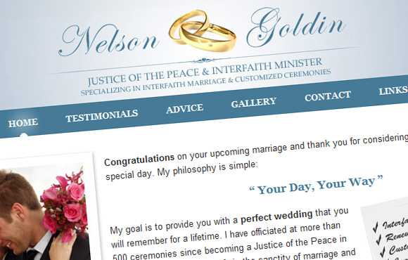 Weddings by Nelson Web Site Screenshot